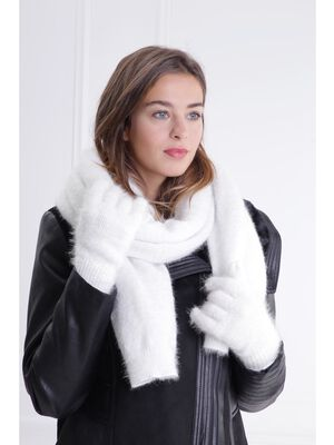 Set gants et echarpe maille ecru femme