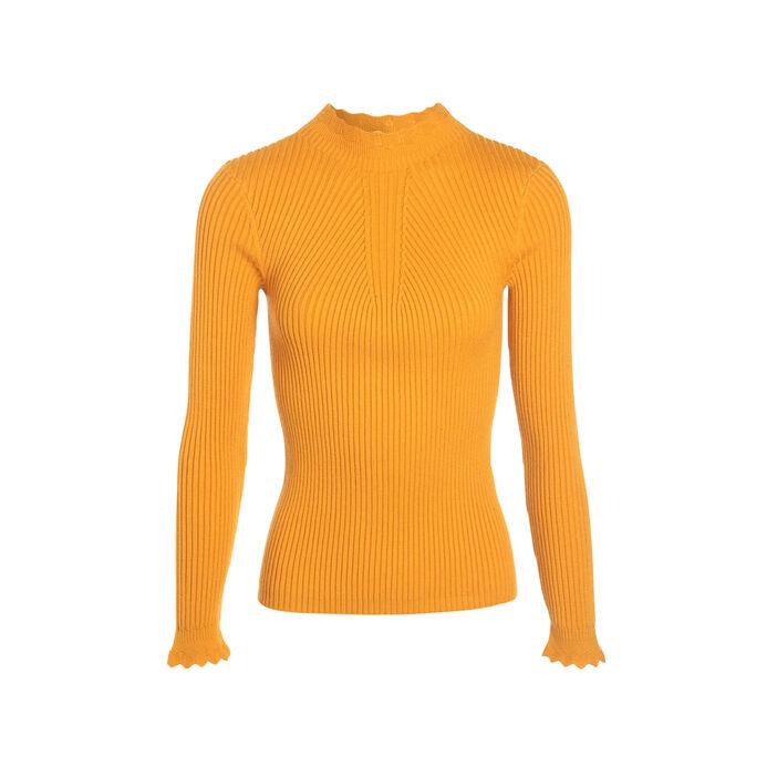 Pull manches longues festonné jaune or femme