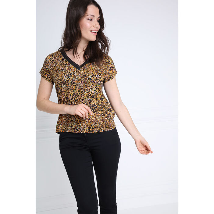 ef3d644fa38b8 T-shirt manches courtes col V camel femme | Vib's