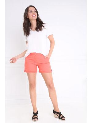 Short droit taille standard orange corail femme