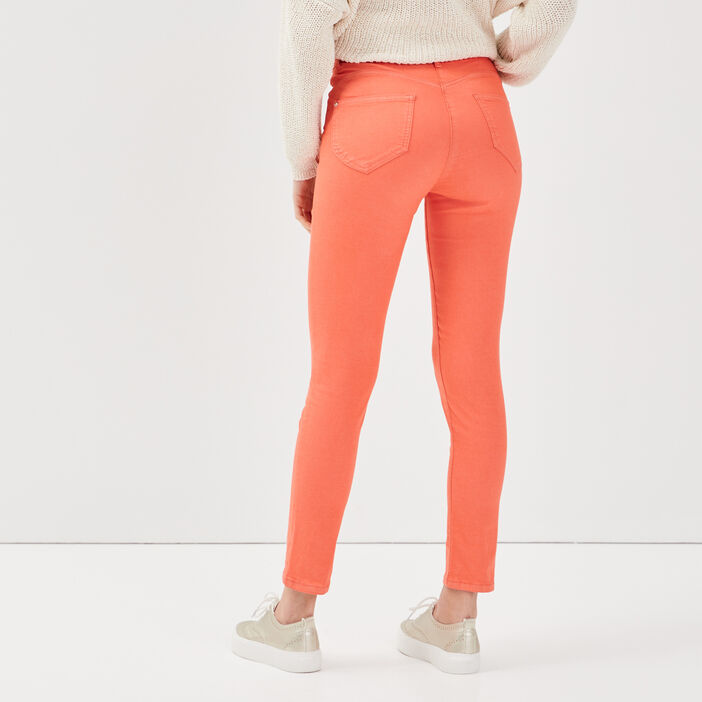 Pantalon léger toucher doux orange corail femme