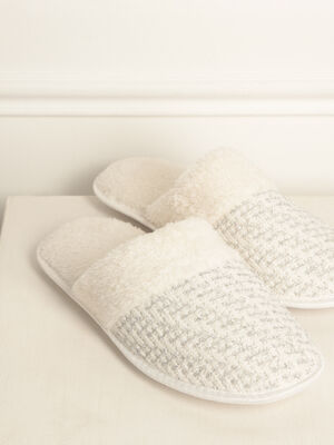 Chaussons mules fourres creme femme