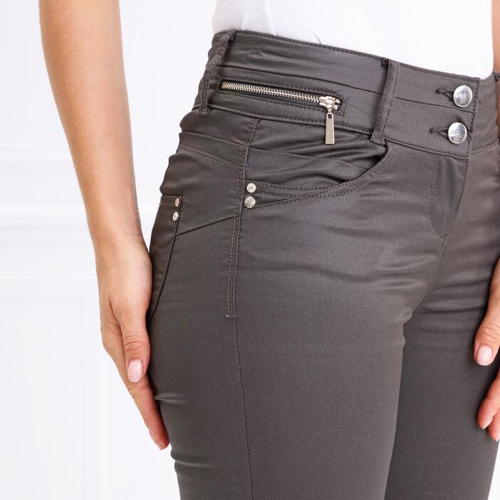 Pantalon taille haute ajusté enduit vert foncé femme