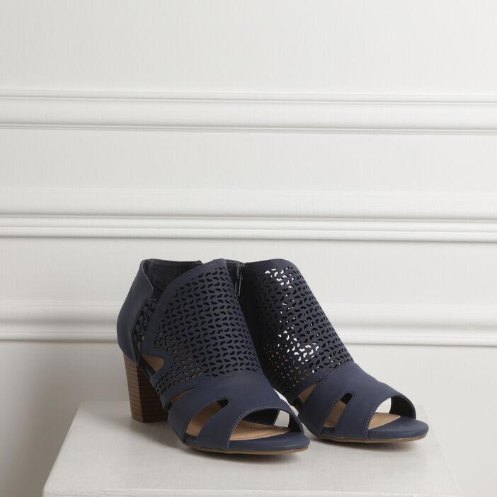 Sandales ajourées talon carré bleu foncé femme