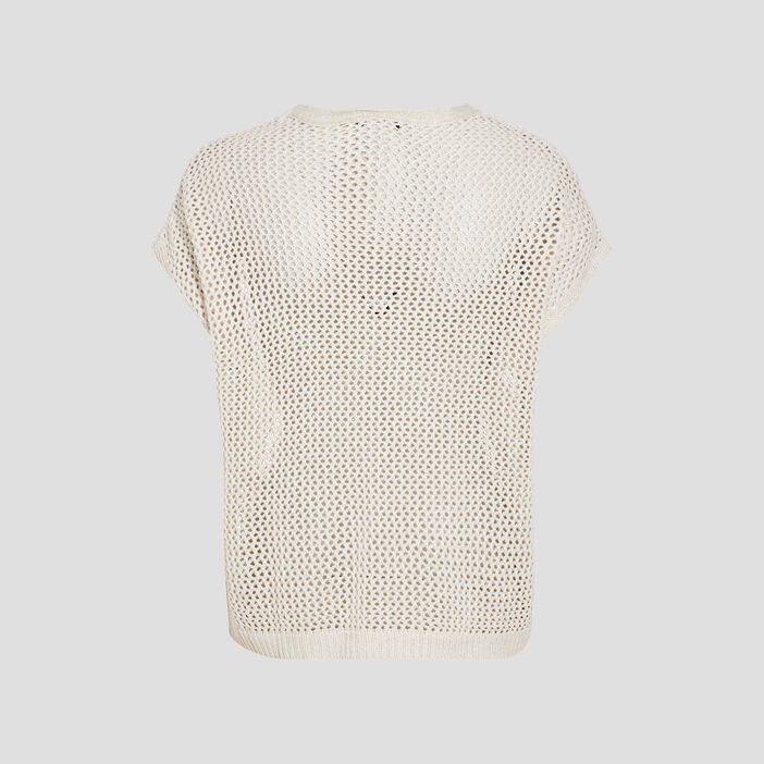 Pull manches courtes sable femme