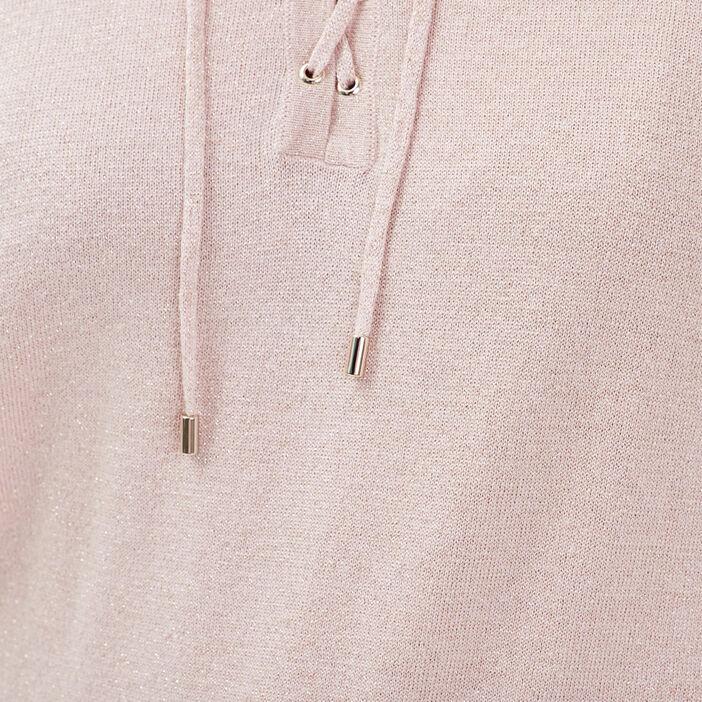 Pull manches longues à capuche vieux rose femme