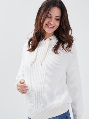 Pull manches longues a capuche creme femme