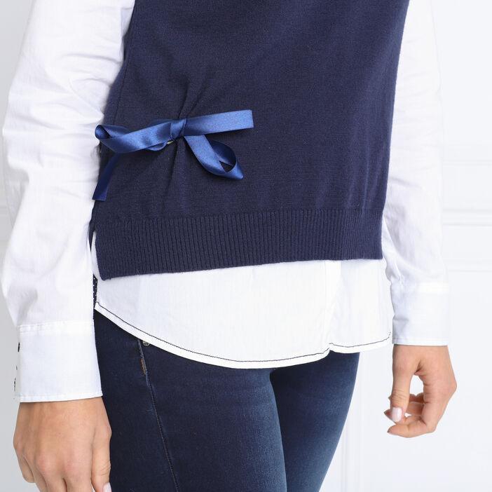 Pull sans manches noué bleu marine femme