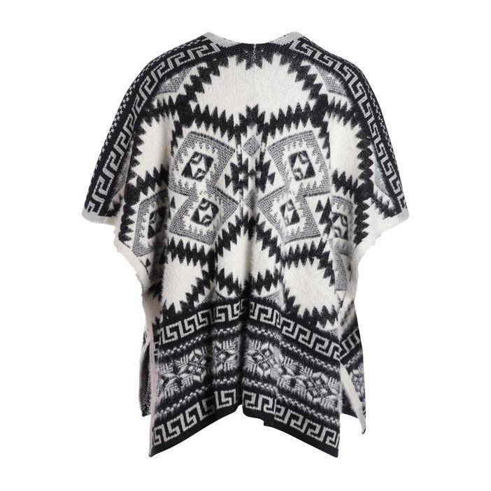 Poncho motif ethnique bicolore noir femme