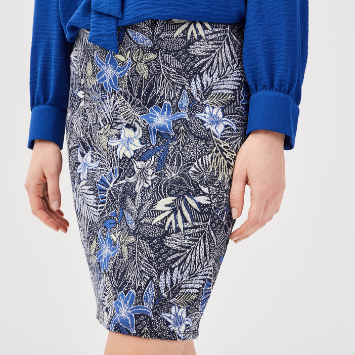 Jupe ajustée bleu marine femme