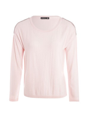 Pull manches longues strass rose poudree femme