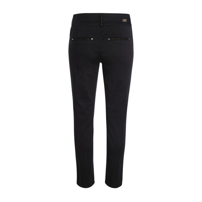 Pantalon satin avec strass et breloques noir femme