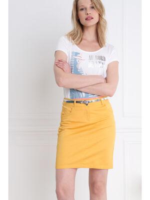 Jupe droite ceinture irisee jaune moutarde femme