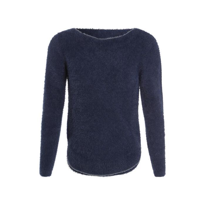 Pull tricot uni vert canard femme