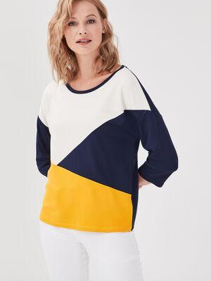 T shirt manches 34 col rond bleu marine femme