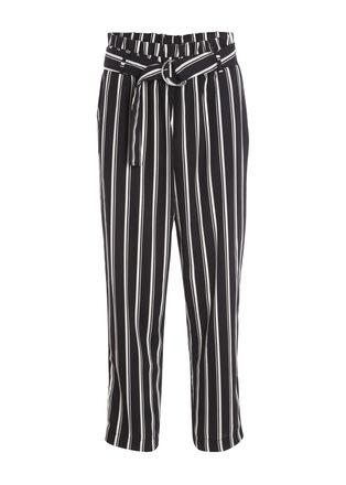 Pantalon fluide taille haute noir femme
