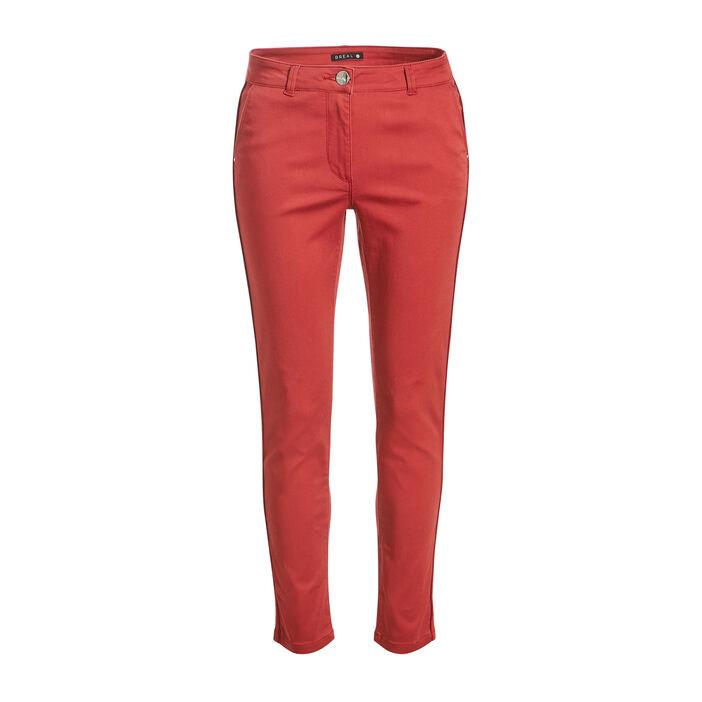 Pantalon ajusté bandes côtés bordeaux femme