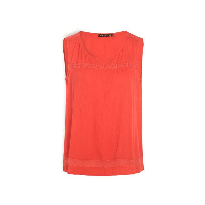 Chemise sans manches liserés macramé rose fushia femme