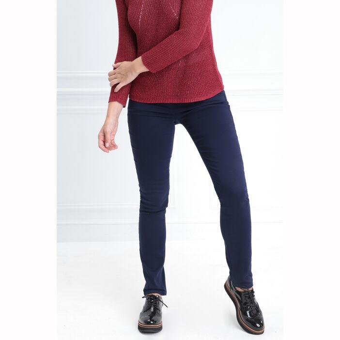Pantalon taille standard zip poches bleu marine femme