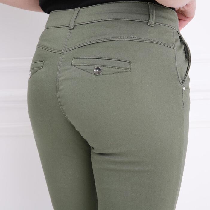 Pantalon taille standard vert kaki femme