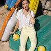 Pantalon ajuste 78eme jaune fluo femme