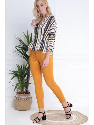 Pantalon taille basculee jaune moutarde femme