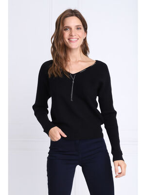 Pull manches longues a chaines noir femme