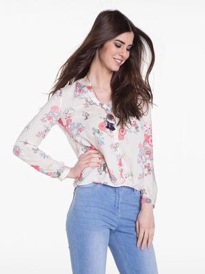 Chemise imprimee floral rose poudree femme