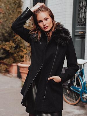 Manteau droit col a fourrure noir femme