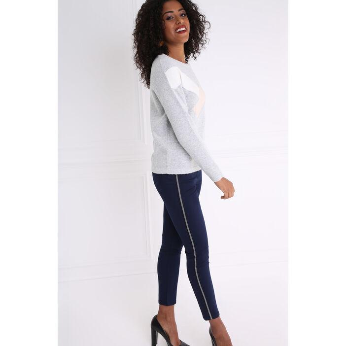 Pantalon uni à bandes latérales bleu foncé femme