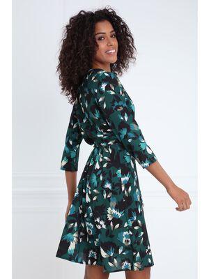Robe longue cintree portefeuille vert fonce femme