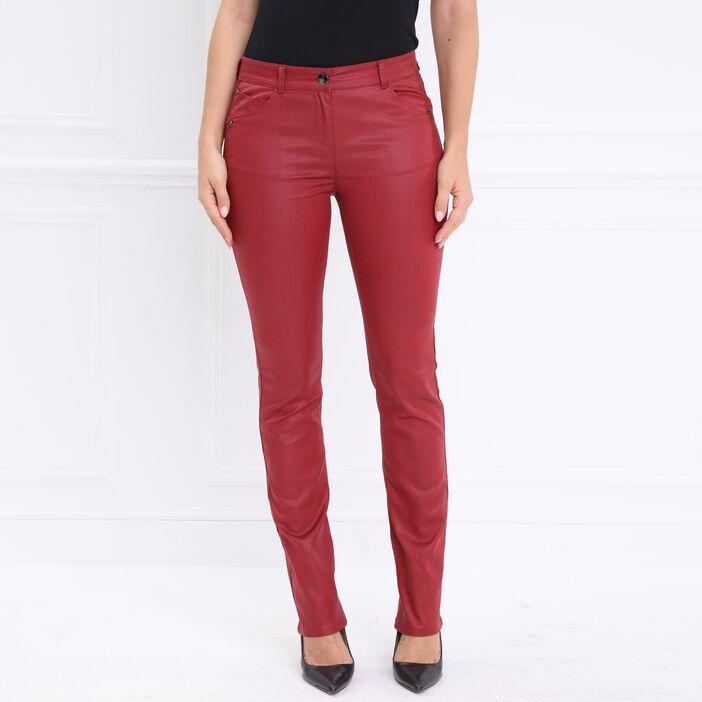 Pantalon droit enduit taille basculée rouge femme