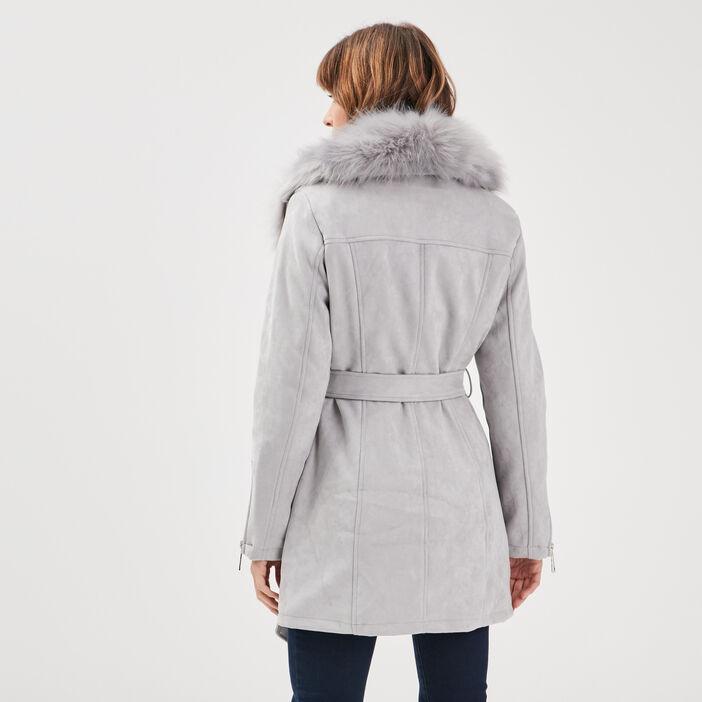 Manteau col fourrure gris foncé femme