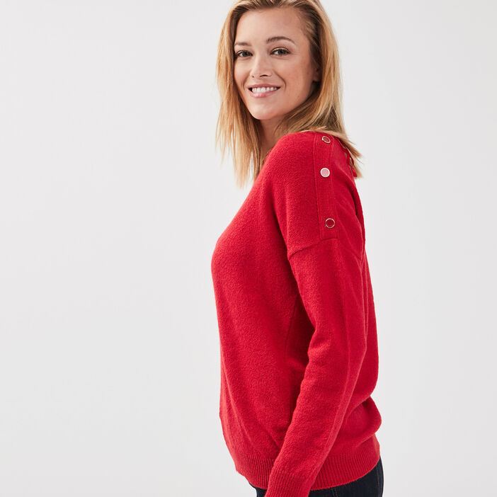 Pull manches longues à boutons rouge femme