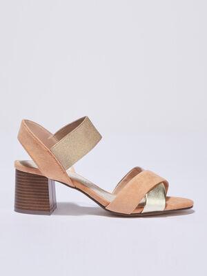 Sandales a talons elastiquees camel femme