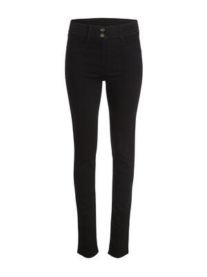 Pantalon taille basculee uni noir femme