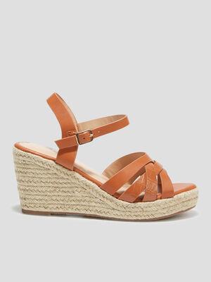 Sandales compensees orange fonce femme