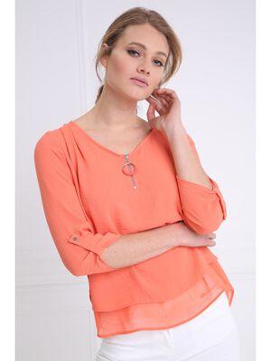 Chemise col en V bimatiere orange corail femme