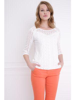 T shirt bimatiere col rond manches 34 ecru femme