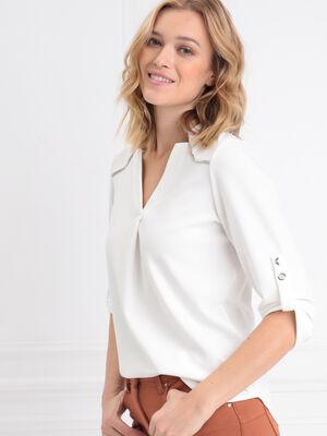 T shirt manches 34 ecru femme