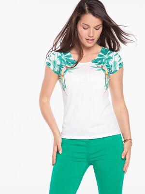 T shirt manches courtes imprime blanc femme