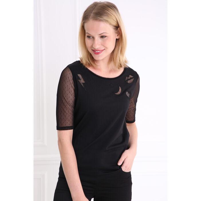 T-shirt col rond manches résille noir femme