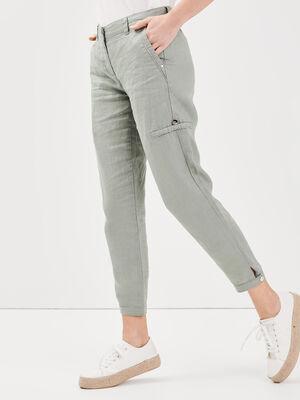 Pantalon flou taille basculee vert clair femme