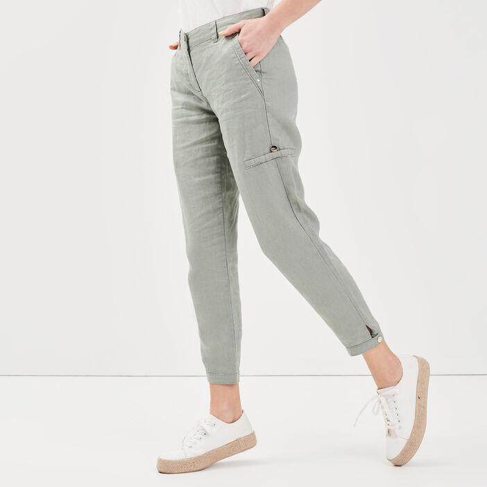 Pantalon flou taille basculée vert clair femme