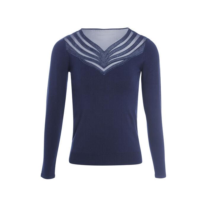 Pull col en V dentelle bleu marine femme