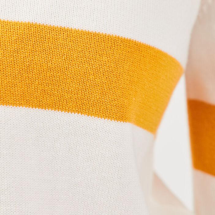 Pull manches 3/4 dos en V jaune or femme