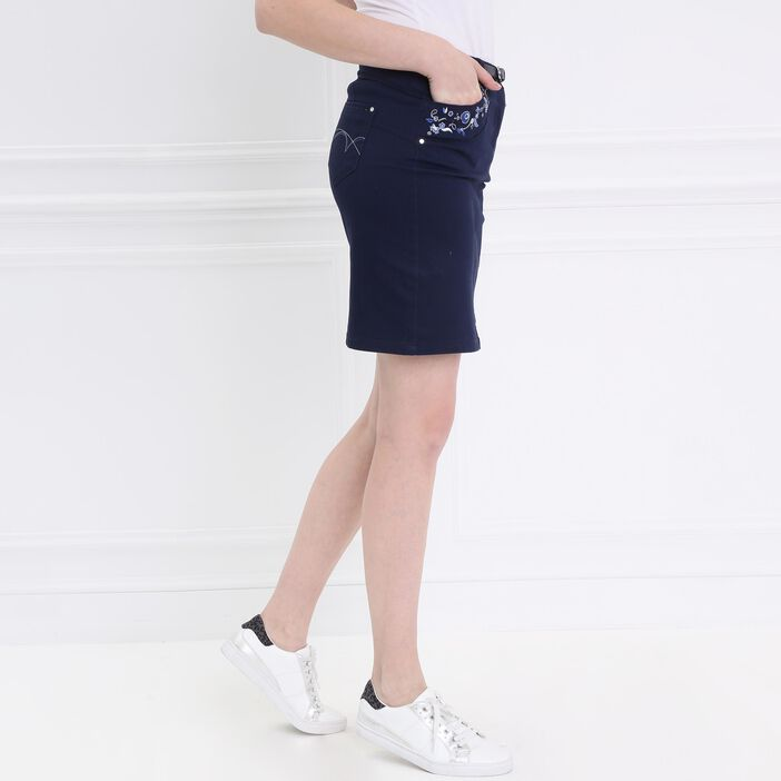Jupe droite brodée bleu femme