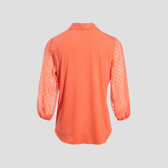 T-shirt manches 3/4 orange corail femme