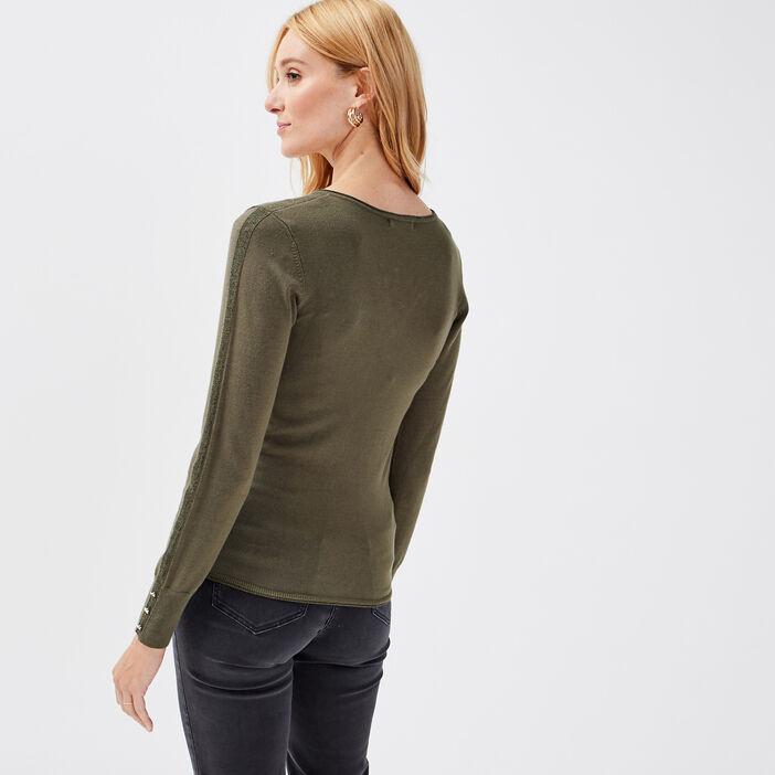 Pull manches longues vert kaki femme