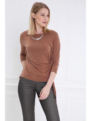 T shirt manches 34 drape marron clair femme